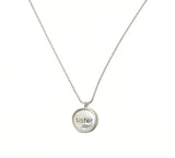 """Sister"" Circle Silver-Plated Charm Necklace"