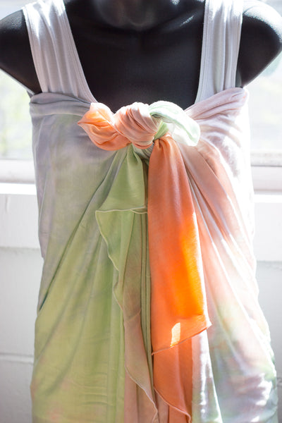 hand dyed shawl tied as a shirt by KOOSHOO