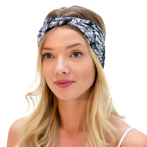 womens organic cotton hand dyed black and white batik headband with a twist
