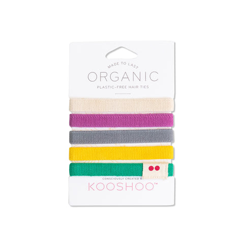 rainbow colorful organic eco-friendly biodegradable sustainable hair ties elastics bobbles