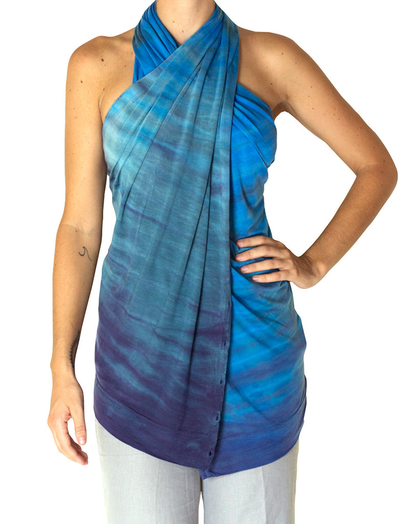 0f9c242ac8654 Blue Multi Way Scarf for Travel. Made from Silk-Like Tencel by KOOSHOO