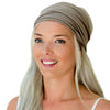 women's expandable stretch bandana, grey, taupe