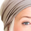 women's organic cotton, natural, soft, grey, taupe, brown, walnut head covering, headband