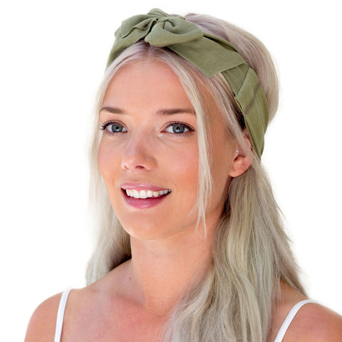 women's green bow headband, olive