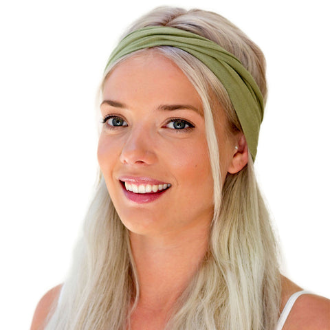 women's green, dried herb, twist headband