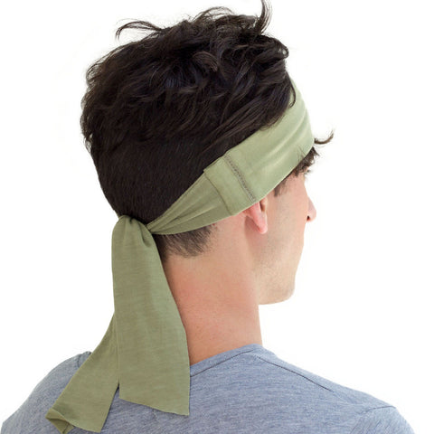 men's army green tied headband