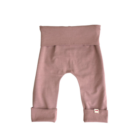 soft purple baby leggings made from organic cotton