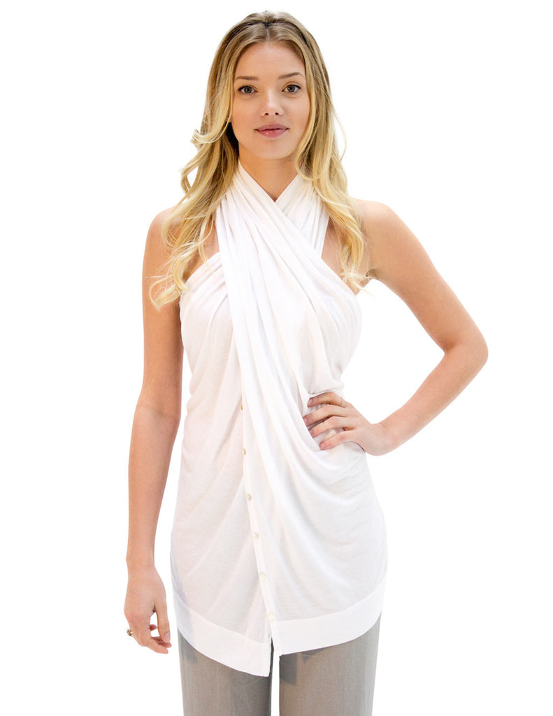 4eeb6ab016fb6 White Multi-Way Scarf Becomes 12 Outfits. Perfect Kundalini Clothing.