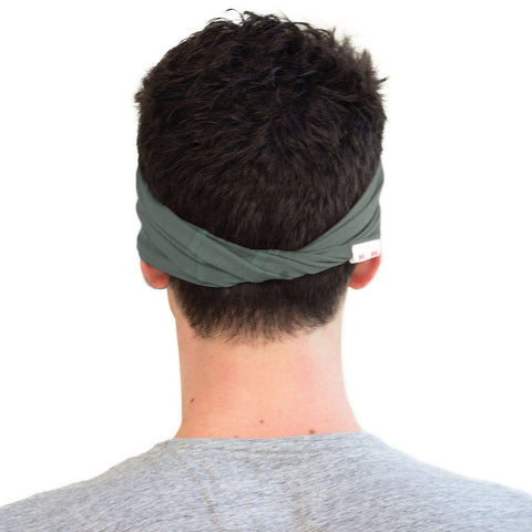 Green twist headband for men