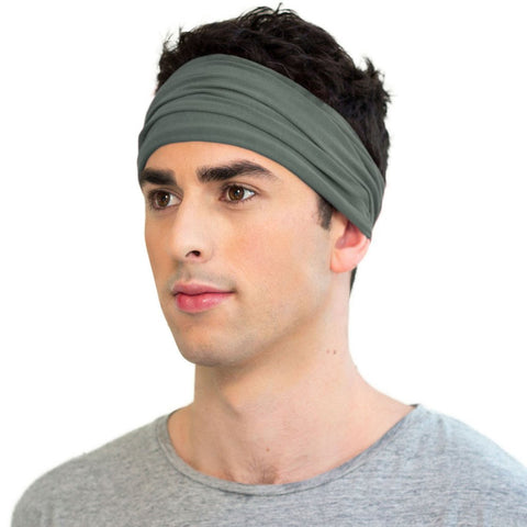 Green men's organic cotton sports headband