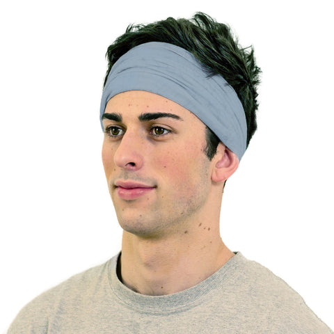 Men's blue organic cotton sports headband