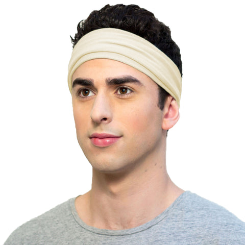Organic cotton headband for men in neutral color
