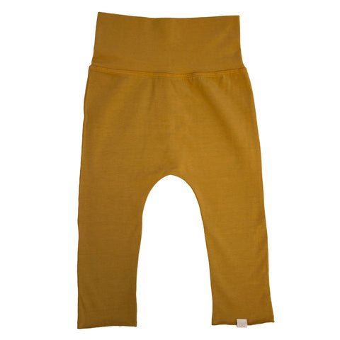 mustard baby pants made from organic cotton