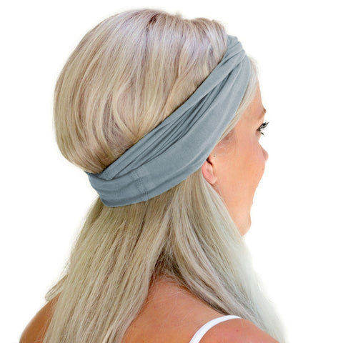 Twist headband with sweat wicking organic cotton