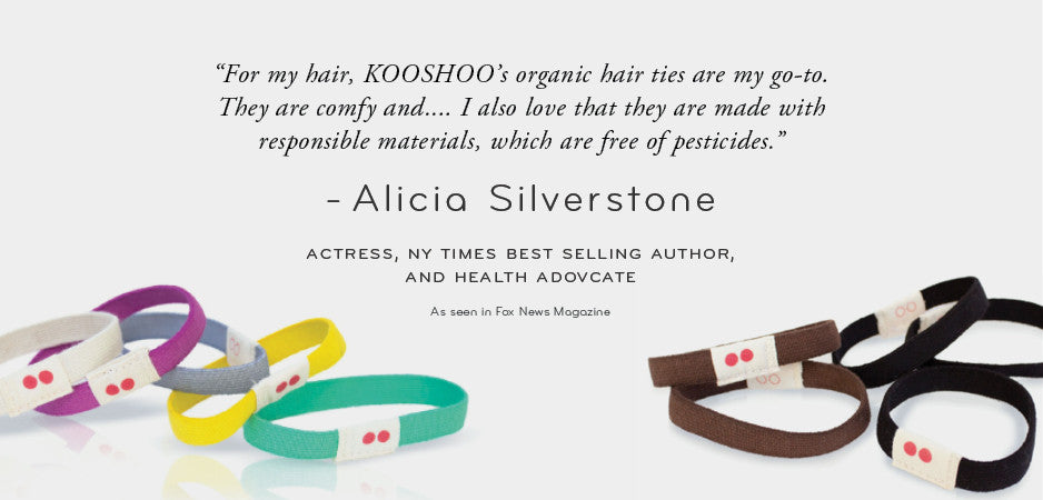 KOOSHOO Lila organic cotton, plastic free hair ties for men, alicia silverstone, celebrity accessories