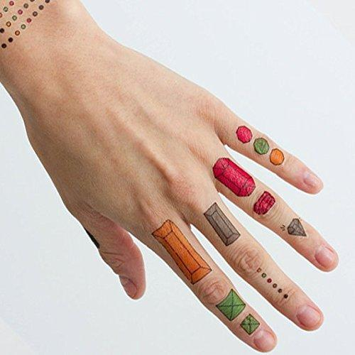 LA Tattoo Company Assorted Jewel Temporary Finger Tattoos - You're a gem (Complete Set of 14) - Other Styles Available and Fashionable Temporary Tattoos-Tattoos-Tattify