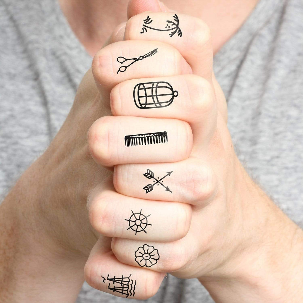 LA Tattoo Company Tiny LA NY Temporary Finger Tattoos - Coast to Coast (Complete Set of 10 Tattoos - 2 of each Style) - Individual Styles Available and Fashionable Temporary Tattoos-Tattoos-Tattify