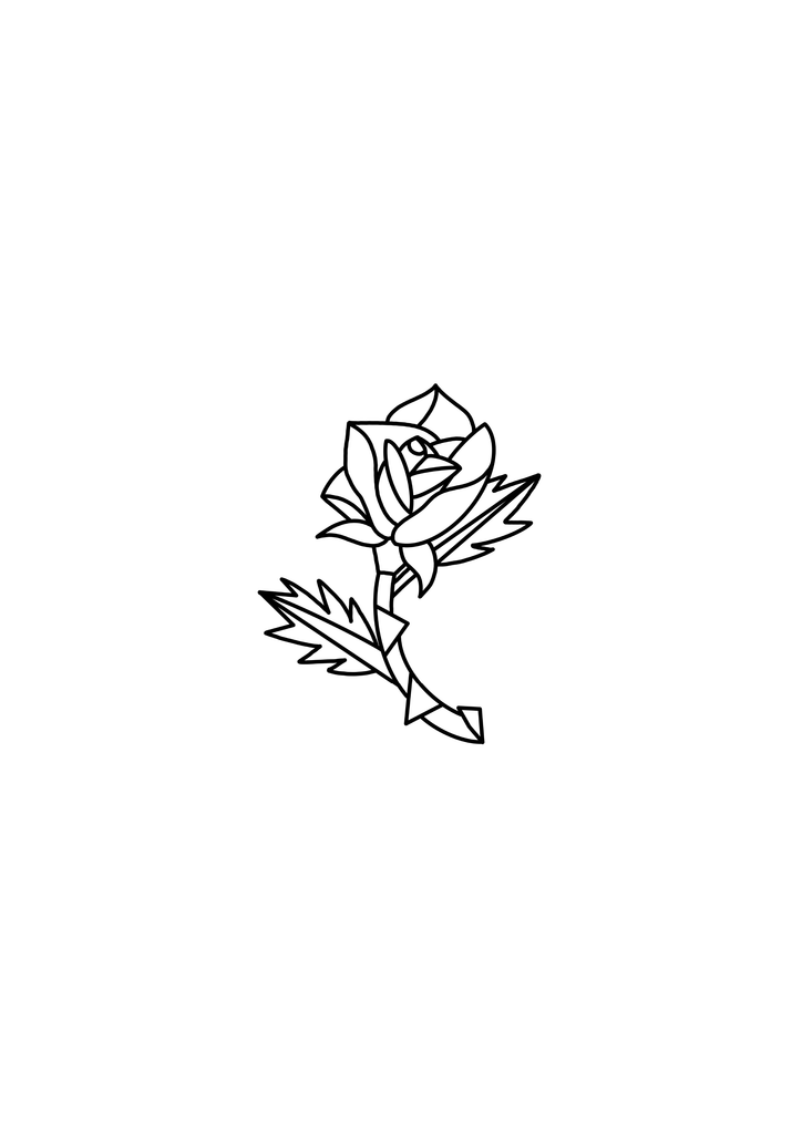 Rose Outline - Temporary Tattoo (Set of 2)-Tattify