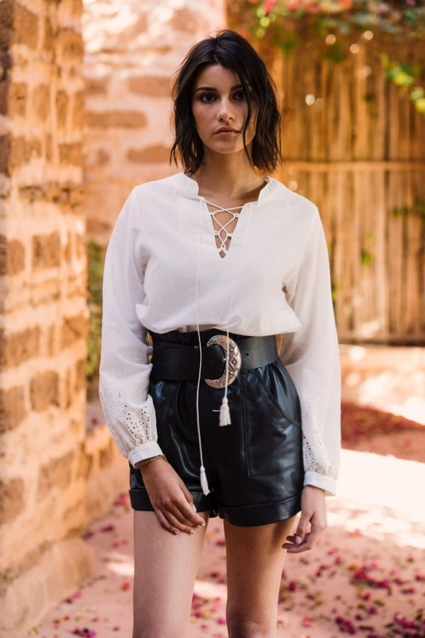White lace crossover blouse