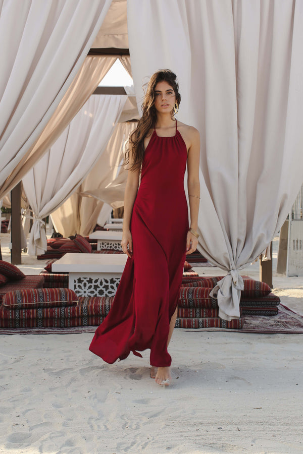 Sofia Halterneck Dress Burgundy