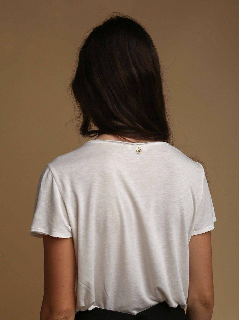 White Embroidered Eva Jersey T-shirt
