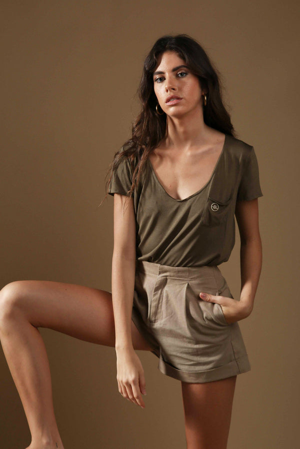 Khaki embroidered Eva Jersey T-shirt