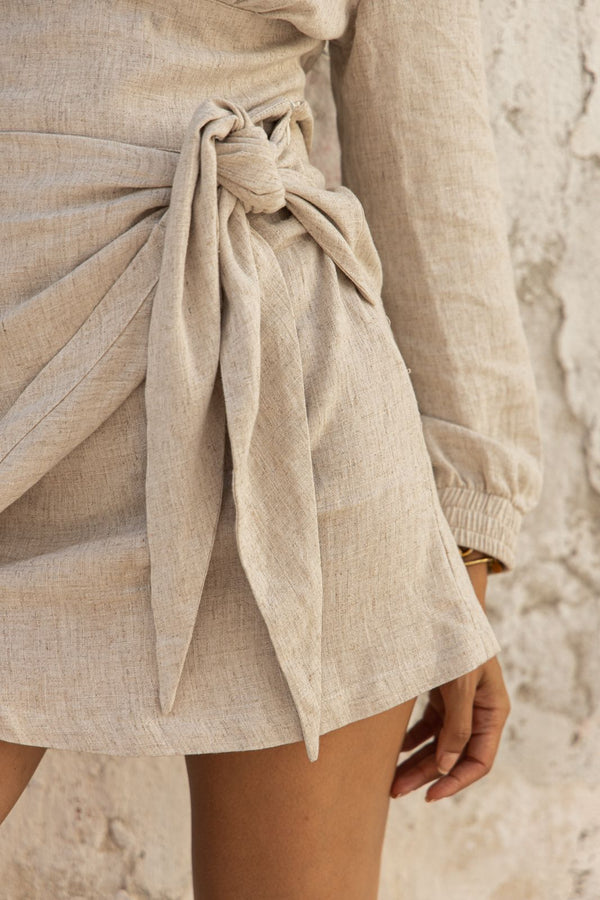 Beige linen wrap mini skirt