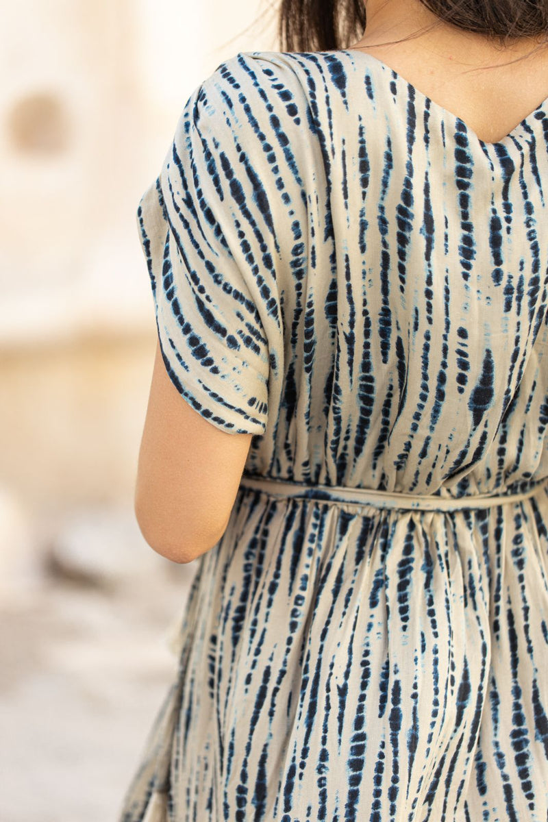 Robe longue tie and dye bleue