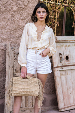 Nude striped jacquard blouse
