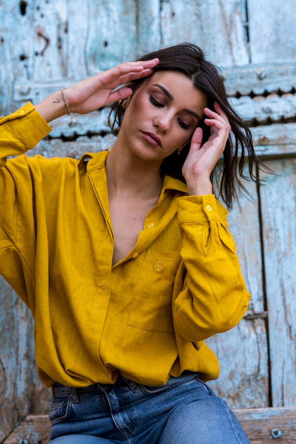 Mustard yellow linen shirt