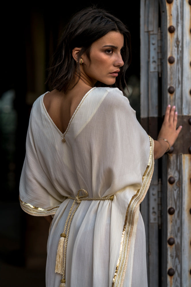 Caftan inspired dress with fringes