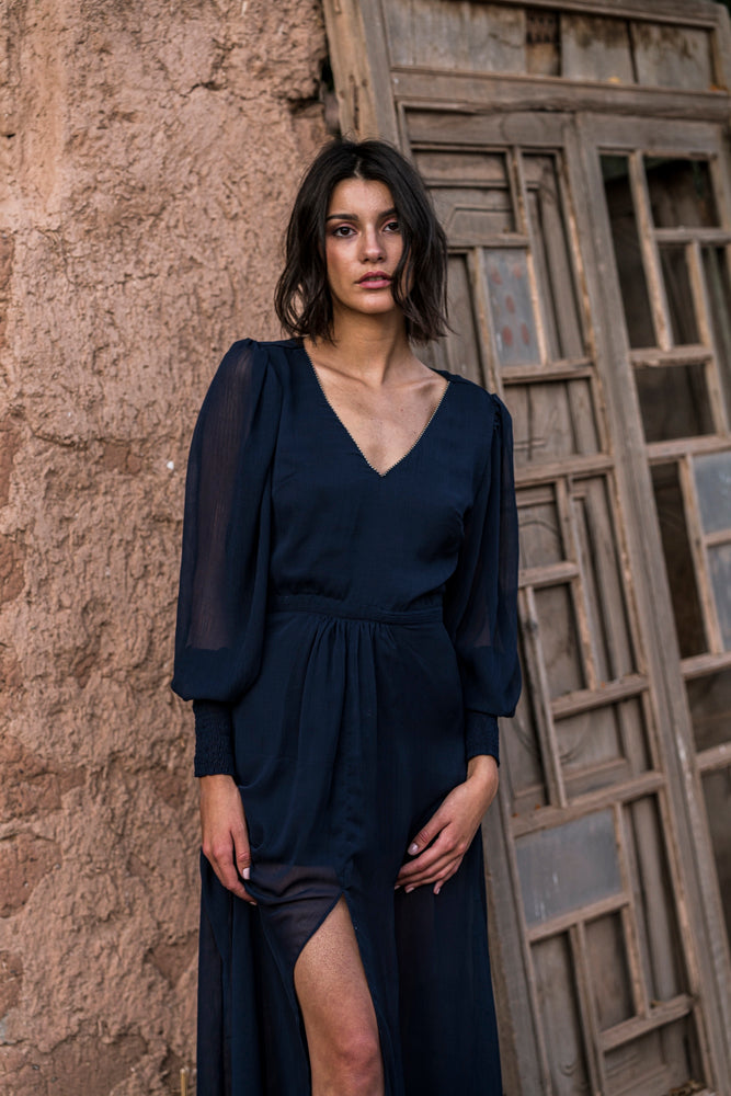 Midnight blue fluid crepe long dress