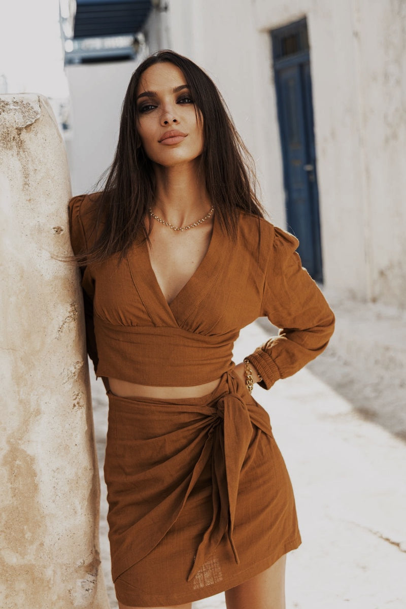 Crop-top en lin camel