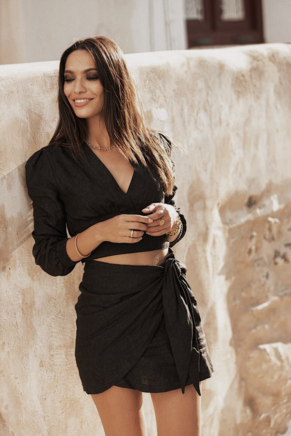 Black linen wrap mini skirt