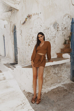 Camel linen wrap mini skirt