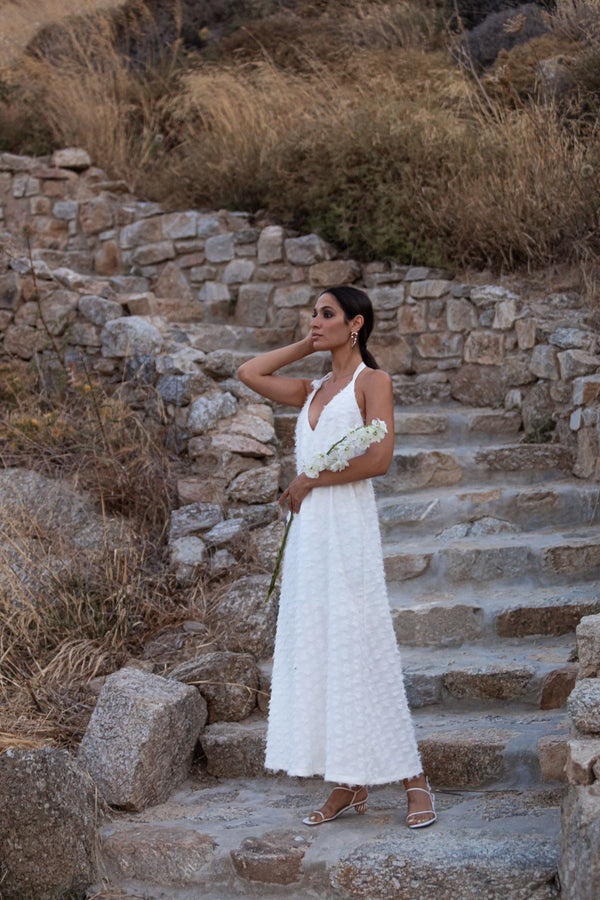 Long white plumetis dress