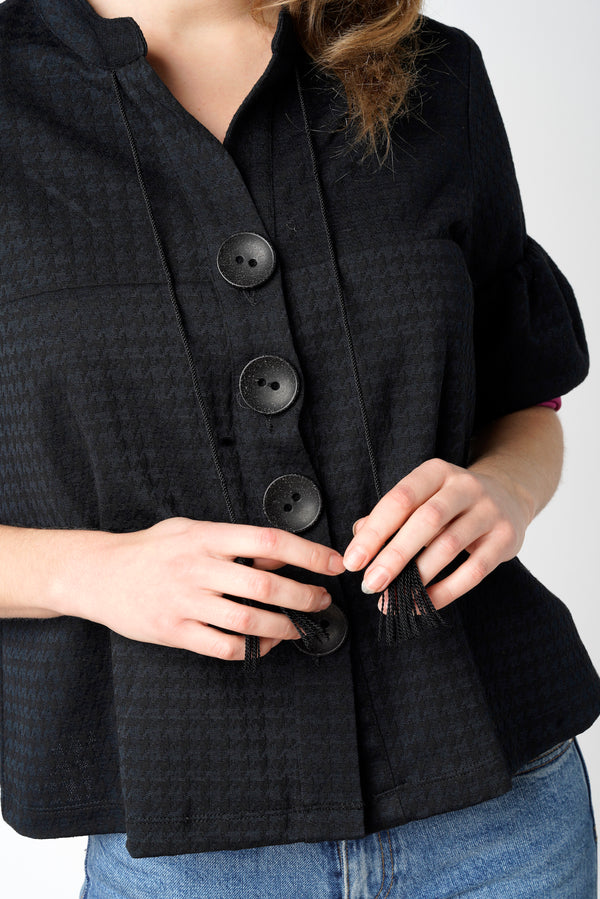 Black houndstooth cardigan