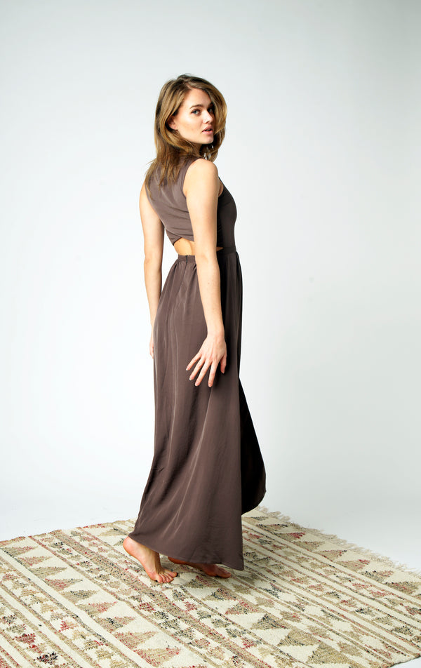 Hand embroidered and beaded glossy brown silk evening dress