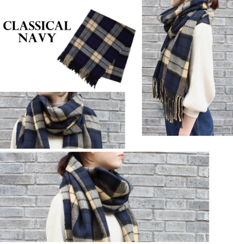 An-Lure | Plaid Large Scarf Mitis - NAVY