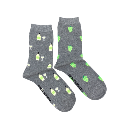 Friday Socks | Women's White Wine & Grapes Socks