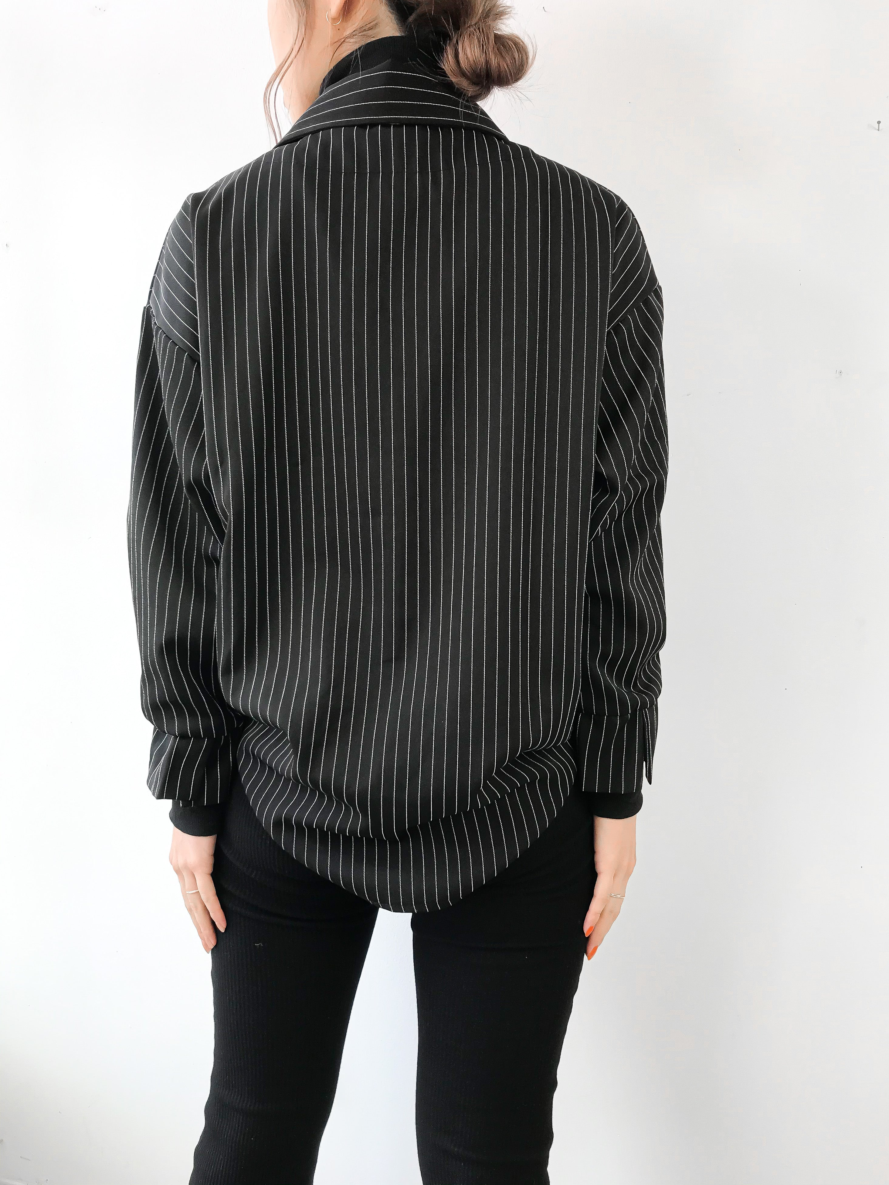 TFL | Layering Style Striped Blouse - BLACK