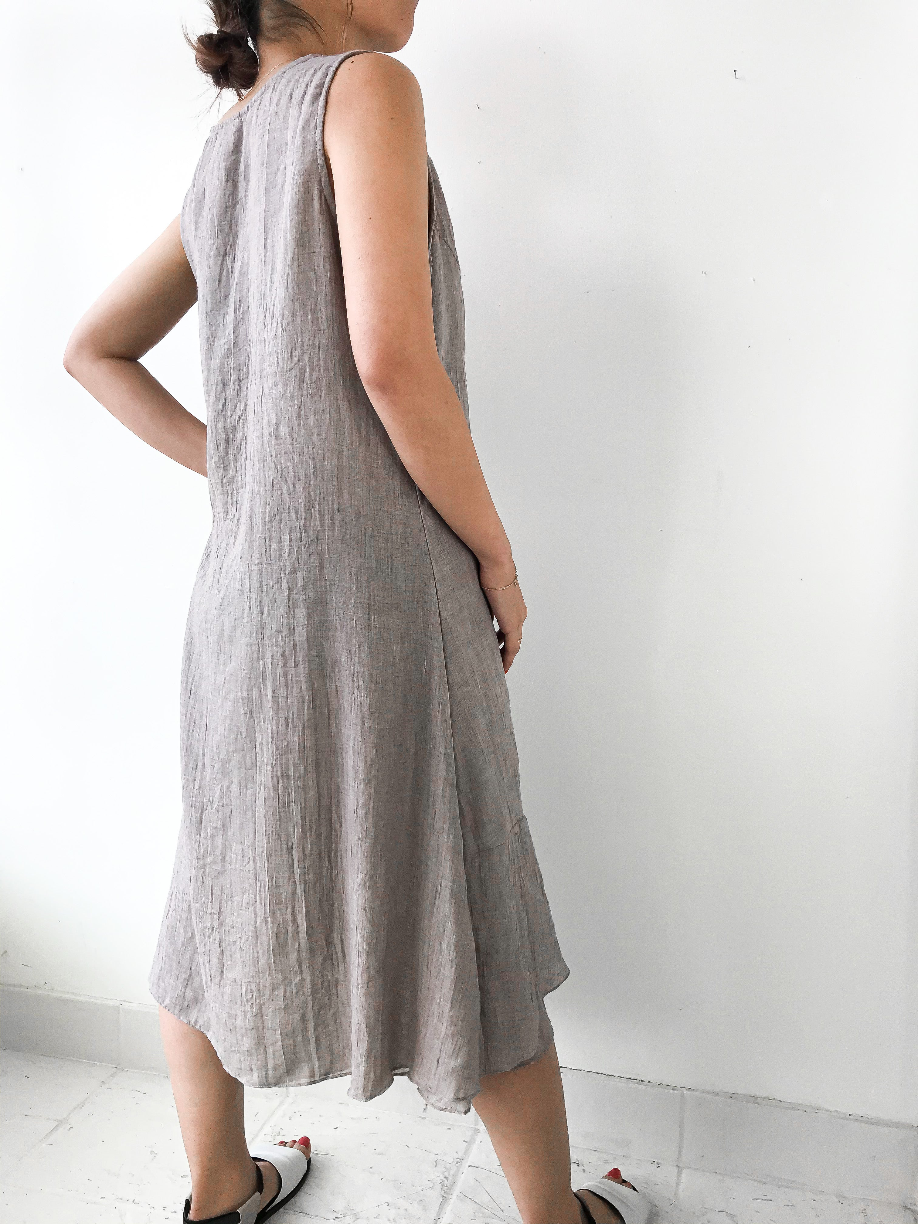 Cosmo's | 805 Fully lined Dress Giant Pockets - Oat