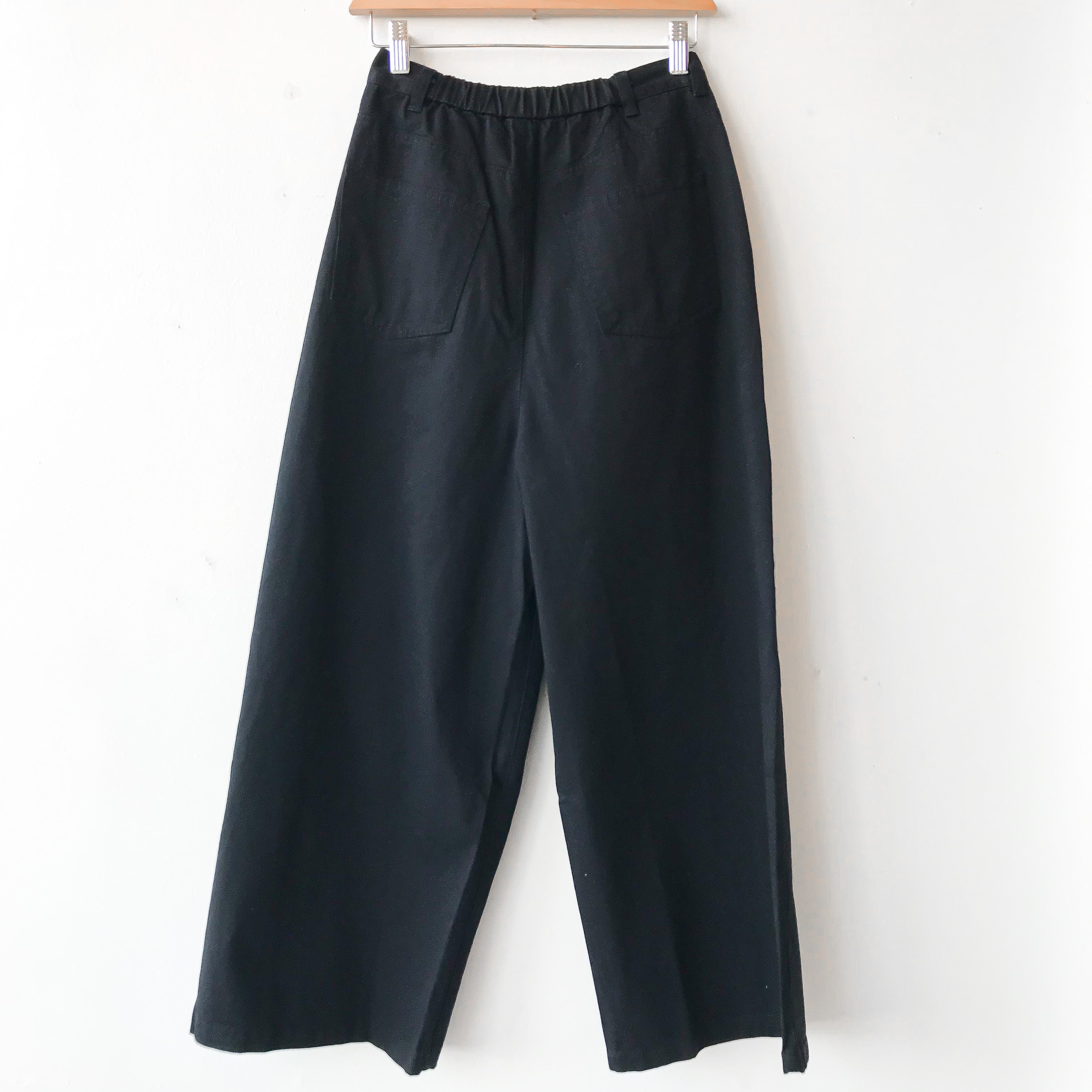 Riche Glamour | Twill High Waist Wide Pants - BLACK