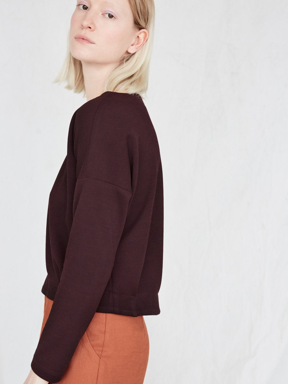 eve gravel |YELLOW MOON Cropped Long Sleeve Top - Plum/Wine Red