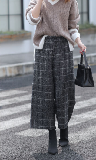 EastSee | Retro Wide Long Pants - PLAID