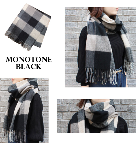 An-Lure | Plaid Large Scarf Mitis - BLACK