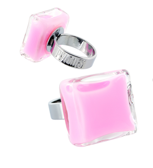 Open image in slideshow, PYLONES GLASS RING MINI / SQUARE / MILK