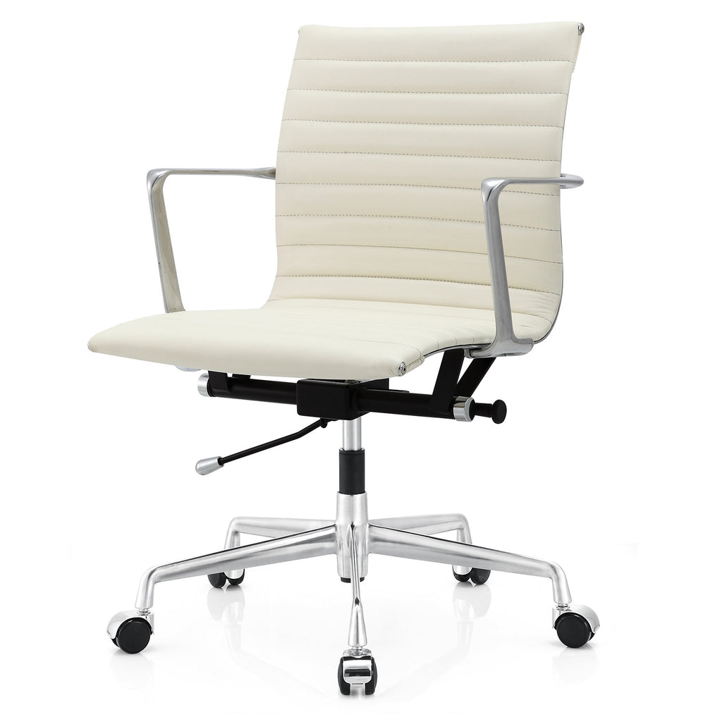 Office Chair In Aniline Leather Color Options - White leather office chairs