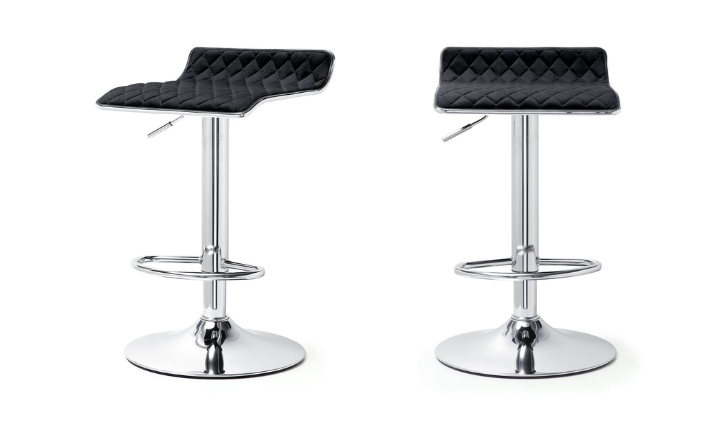 M502 Adjustable Barstool, Velvet, Set Of Two