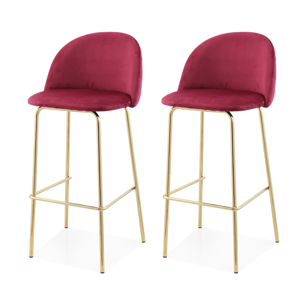 M62 Counter Height Stool, Gold Finish, Set of Two
